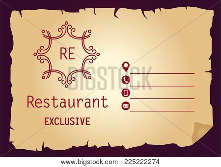 Restaurant template logo, banner, poster with open space on paper background.