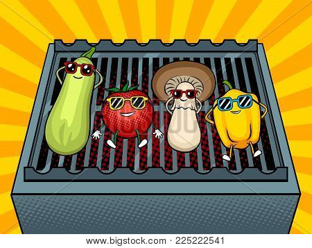 Vegetables tans on barbecue grill pop art retro vector illustration. Cartoon food character. Color background. Comic book style imitation.