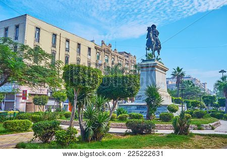 Alexandria, Egypt - December 17, 2017: The Equestrian Statue Of Muhammad Ali Pasha Among The Trimmed