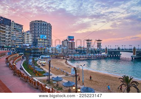 Alexandria, Egypt - December 17, 2017: The Stanley Neighborhood Is One Of The Best Places In City To