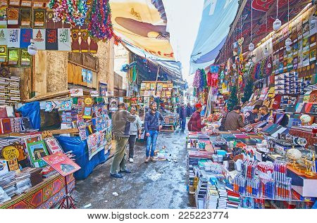 Alexandria, Egypt - December 17, 2017: Some Quarters Of Souq At Tork Are Occupied With Stationery Ma