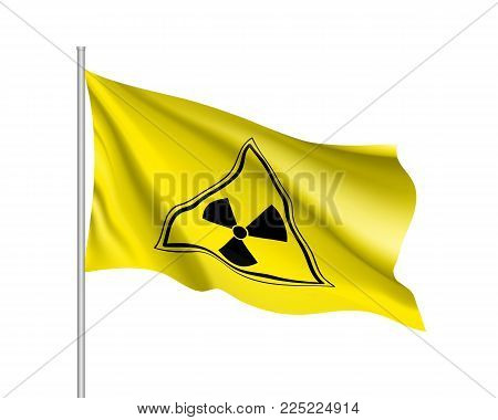 Yellow radiation sign triangle on yellow, realistic waving banner. Warning about threat to life, dangerous factory or plant, the production or storage of various substances. Vector illustration