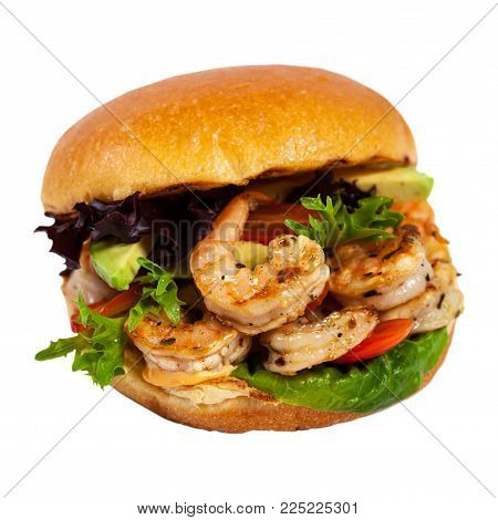 Shrimp Burgers Isolated on White background. Selective focus.