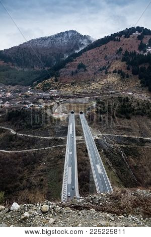 View Of The National Road (egnatia Odos) As It Appears From Metsovo In Epirus, Greece