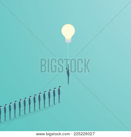 Creative idea business solution vector concept with businessman flying with lightbulb as balloon. Symbol of creativity, success, innovation, inspiration. Eps10 vector illustration.