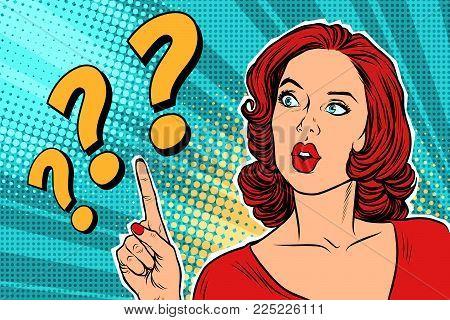 question mark, thinking woman. Pop art retro vector illustration