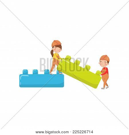 Cute boy and girl playing with buiding toy blocks, preschool activities and early childhood education cartoon vector Illustration isolated on a white background