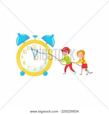 Cute girl and boy playing with giant clock learning to read time, preschool activities and early childhood education cartoon vector Illustration isolated on a white background