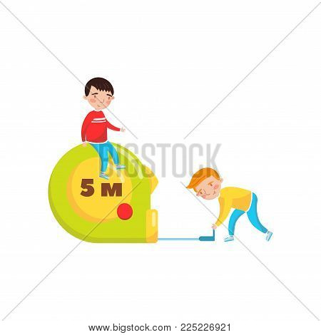Cute boys using giant measuring tape, preschool activities and early childhood education cartoon vector Illustration isolated on a white background