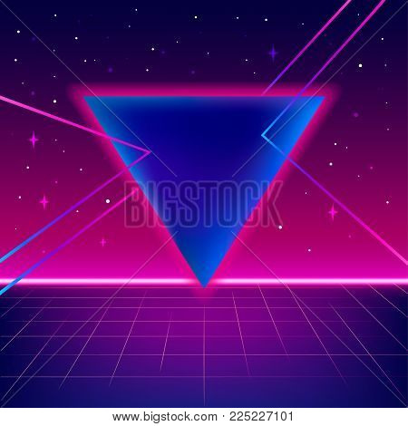 80s sci-fi background with perspective grid, stars, triangle and bright lines. Abstract retro background in 80s style. Disco, neon. Vector illustration.