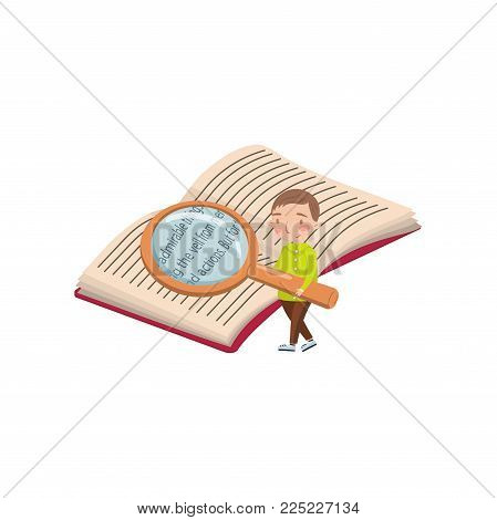 Little boy reading a book with a magnifying glass, preschool activities and early childhood education cartoon vector Illustration isolated on a white background