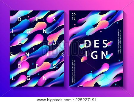 Set of creative design posters with plastic shapes. Modern style abstraction background. Abstract background of liquid colorful shapes. Fluid shapes composition. Futuristic design cover. Vector