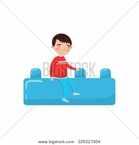 Cute little boy sitting on a giant blue buiding toy block, preschool activities and early childhood education cartoon vector Illustration isolated on a white background