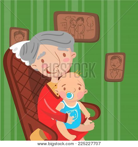 Grandmother with her grandson, photo on the background of retro room interior, best moments on pictures, portrait of family members colorful vector Illustration.