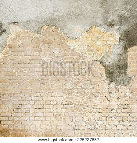 abandoned grunge cracked brick stucco wall background
