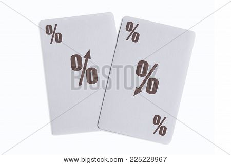 Playing cards with up and down interest rate signs
