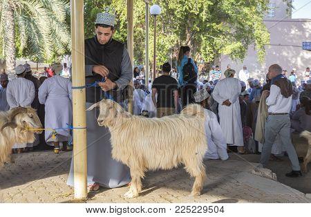 Nizwa, Oman, Febrary 2nd, 2018: Scene Of Traditional Goat Auction