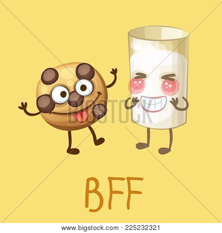 Funny food characters Best Friends Forever. Cheerful emoji choc chip cookie and glass of milk. Cartoon vector illustration