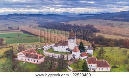 aerial view of Hosman fortified church in Transylvania, Romania