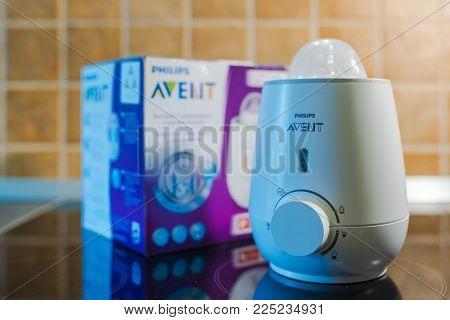Novi Sad, Serbia - February 04, 2018: Philips Avent Baby Milk Warmer Is Used To Warm Feeding Bottles