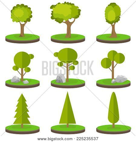 Trees on a piece of land. A set of trees with stones on green grass. Flat design, vector illustration, vector.