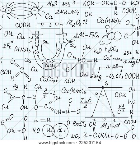 Scientific vector seamless pattern with chemistry formulas, plots and equations, handwritten on a grid copybook paper