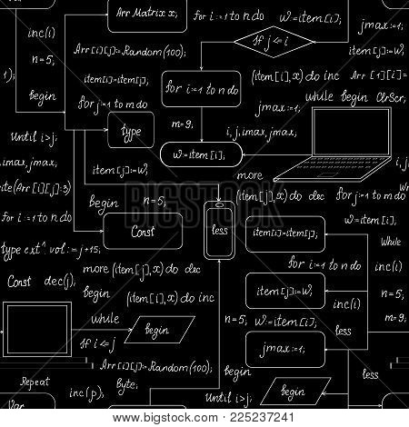 Technical vector seamless pattern with hand drawn technical devices, handwritten formulas, schemes, programming code, program flow diagrams