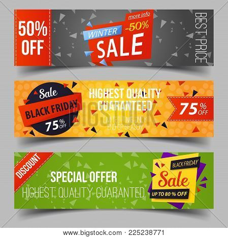 Set of isolated tags for retail sale at black friday. Advertising sticker for black friday, sell badges for sale promotion or announcement, clearance trading. Supermarket or shop, purchase theme