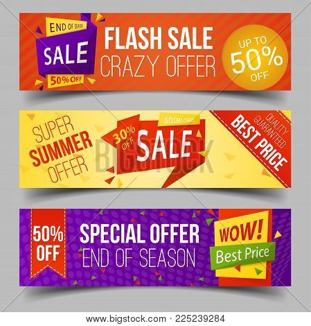 Set of isolated tags for summer retail sale. Badge with message for promotion or price offer, label or coupon for ads or advertising, sticker for commerce and price reduction.Commercial and shop theme