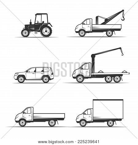 vector illustration set of various transportation and construction machinery. Heavy equipment. Collection of heavy trucks. Heavy-duty vehicles