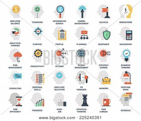 Vector set of business and staff management flat line web icons. Each icon with adjustable strokes neatly designed on pixel perfect 48X48 size grid. Fully editable and easy to use.