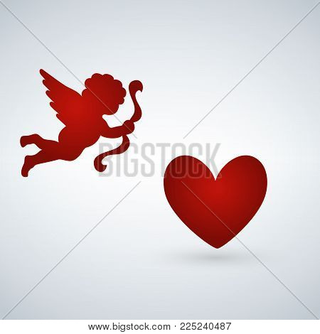 heart with cupid on a white background. Cupid with bow. greeting card for Valentine s Day. love. The 14th of February. The 14th of February