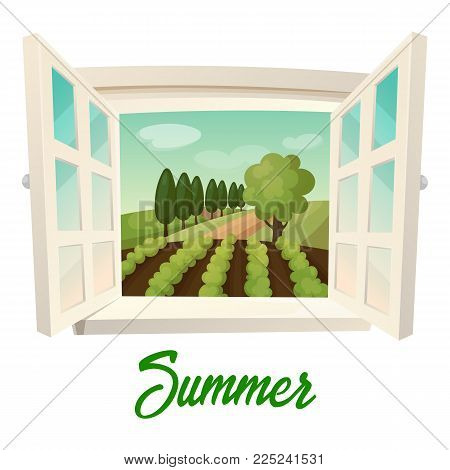 Summer farm panorama. Outdoor or outside panorama from window with joints at field with crop and trees, garden. Environment and village, rural ranch, agriculture and season farmland, countryside theme