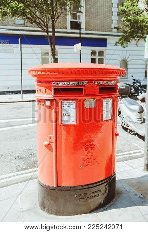 London, England, Uk - August 18, 2017: Iconic Red Post Box In London. In The British Isles, The Firs
