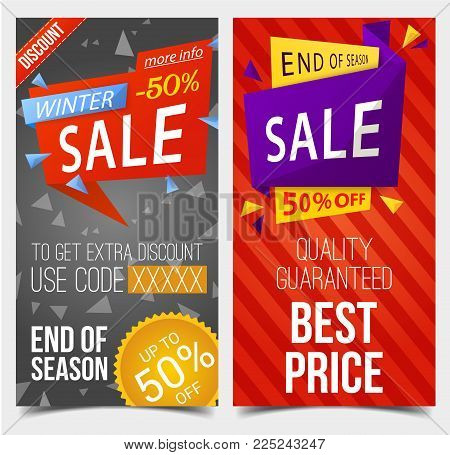 Set of isolated labels or tags backdrop for winter sale. Discount stickers with special code, end of season sale promotion or sell badges. Shop or store, clearance trading, advertising and commercial