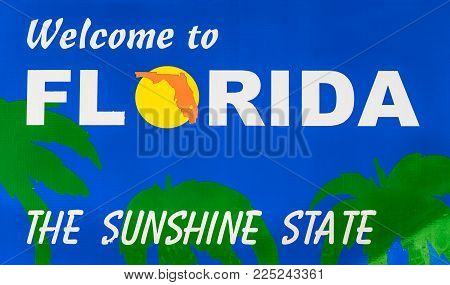 Welcome to Florida, the sunshine state road sign