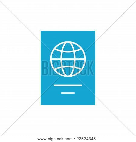 flat passport icon on white background simple