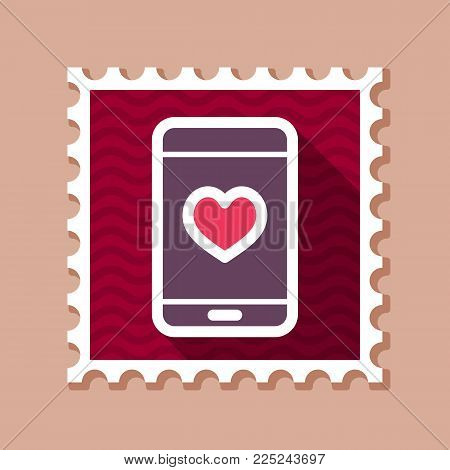 Technology heart smartphone mobile phone romantic telephone call. Valentines day pin map icon, doodle. Map pointer. Decoration for greeting cards, posters, emblems, sticker