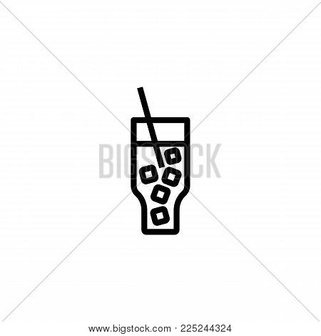 Icon of coca cola. Beverage, straw, ice. Cocktail and celebration concept. Can be used for topics like refreshment bar, lounge, hotel.