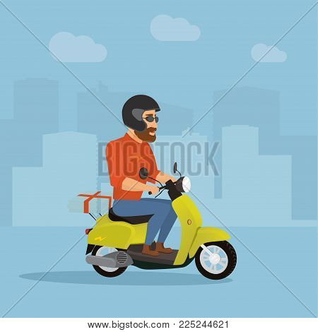 Pizza courier. Man on a scooter delivering pizza. Flat style illustration.