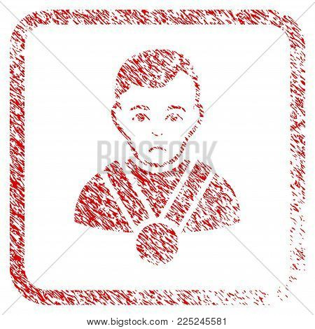 Champion rubber seal stamp watermark. Human face has desperate emotion. Scratched red sign of champion. Icon vector symbol with grunge design and dust texture in rounded rectangle.