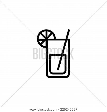 Icon of lemonade. Mojito, straw, citrus. Cocktail and celebration concept. Can be used for topics like refreshment bar, lounge, hotel.
