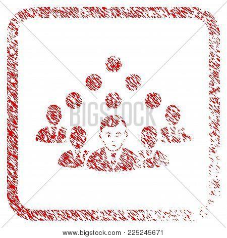 Staff Team rubber seal stamp watermark. Human face has sad emotion. Scratched red sign of staff team. Icon vector symbol with grunge design and dust texture in rounded squared frame.