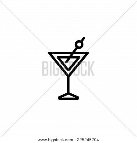 Icon of martini glass. Vermouth, alcohol, olive. Cocktail and celebration concept. Can be used for topics like club, bar, lounge.