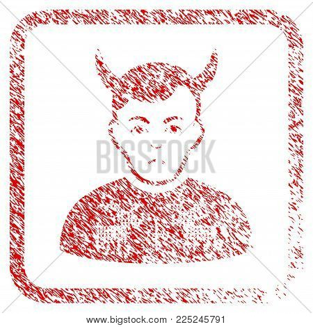 Deers Pullover Horned Husband rubber seal stamp watermark. Person face has sadness emotions. Scratched red emblem of deers pullover horned husband.