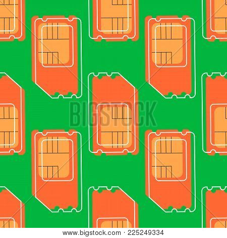 Vector SIM Cards Seamless Pattern on green Background.