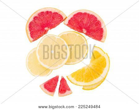 Citrus fruits composition on a white background. Top view. Tree type of citrus fruits