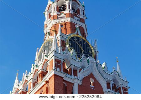 Moscow, Russia - February 01, 2018: Chimes of the Spasskaya Tower of Moscow Kremlin closeup. Moscow Kremlin in winter