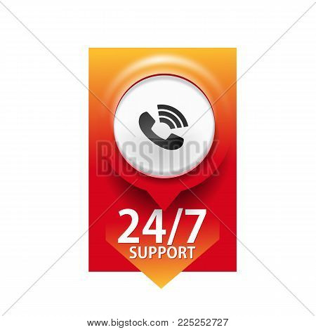 24/7 Support. Open And Assistance, Support Symbol On White Background