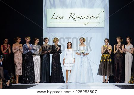 MOSCOW, RUSSIA - MARCH 26, 2017: Model walk runway for LISA ROMANYUK catwalk at Autumn-Winter 2017-2018 Moscow Fashion Week.
